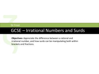 GCSE – Irrational Numbers and Surds