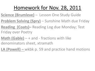 Homework for Nov. 28, 2011