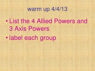warm up 4/4/13