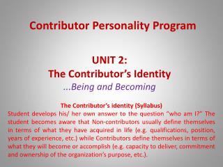Contributor Personality Program