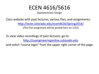 ECEN 4616/5616 Optoelectronic Design