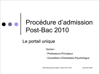 Proc dure d admission  Post-Bac 2010