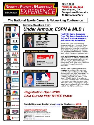 Meet 90+ Sports Executives From 75+ Sports Organizations  in 1-on-1 breakout sessions…
