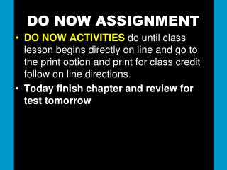 DO NOW ASSIGNMENT