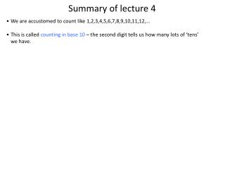 Summary of lecture 4