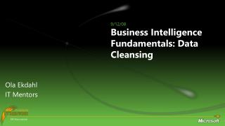 Business Intelligence Fundamentals:  Data Cleansing