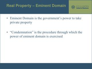 Real Property – Eminent Domain