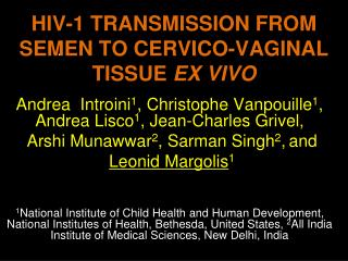 HIV-1 TRANSMISSION FROM SEMEN TO CERVICO-VAGINAL TISSUE  EX VIVO