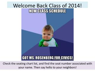 Welcome Back Class of 2014!