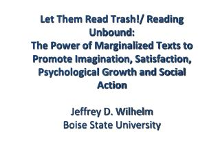 Let Them Read Trash!/ Reading  Unbound :