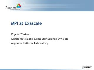 MPI at Exascale