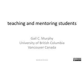 t eaching and mentoring  s tudents