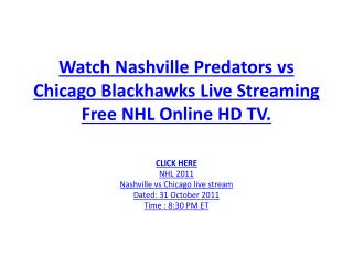Watch Predators vs Blackhawks Live Streaming Free NHL Online