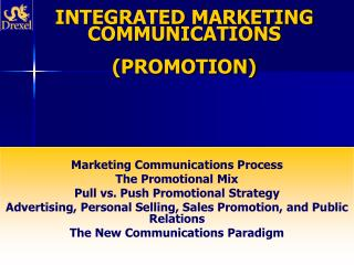 INTEGRATED MARKETING COMMUNICATIONS  (PROMOTION)