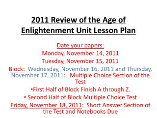 2011 Review of the Age of Enlightenment Unit Lesson Plan