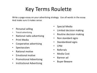 Key Terms Roulette