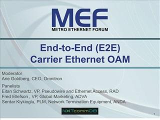 End-to-End E2E  Carrier Ethernet OAM