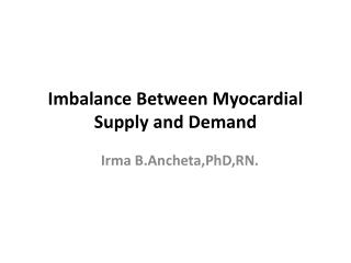 Imbalance Between Myocardial Supply and Demand