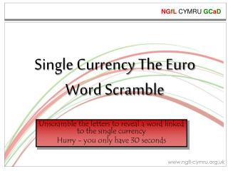 Single Currency  The Euro Word  Scramble