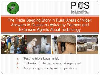 Testing  triple  bags  in  lab Following  triple bag use  at  village  level