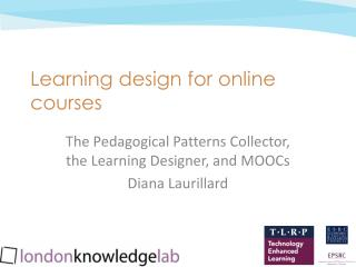 Learning design for online courses