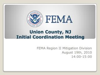 Union County, NJ  Initial Coordination Meeting