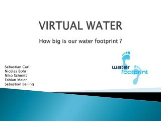 VIRTUAL WATER How big is our water footprint  ?