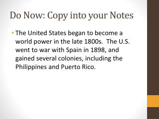 Do Now: Copy into your Notes