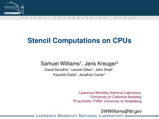 Stencil Computations on CPUs