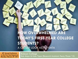 How Overwhelmed are today's First Year College Students?  A Closer Look at the Data