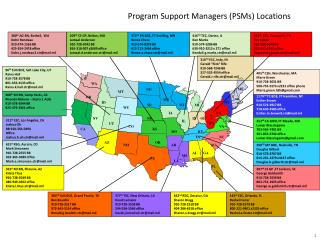 Program Support Managers (PSMs) Locations