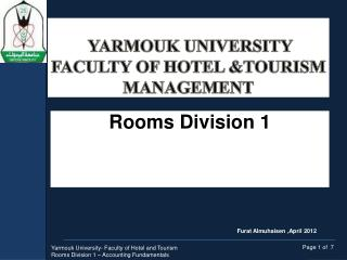 Yarmouk  University Faculty of Hotel &Tourism Management