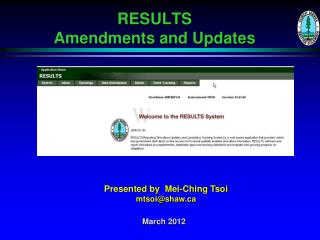 RESULTS  Amendments and Updates