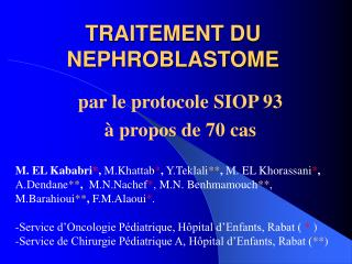 TRAITEMENT DU NEPHROBLASTOME