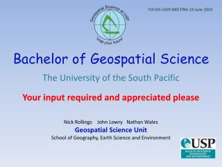 Bachelor of Geospatial Science
