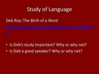 Study of Language