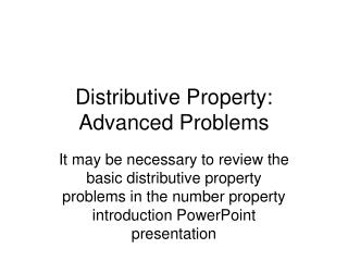 Distributive Property: Advanced Problems
