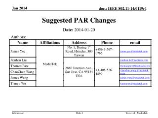 Suggested PAR Changes