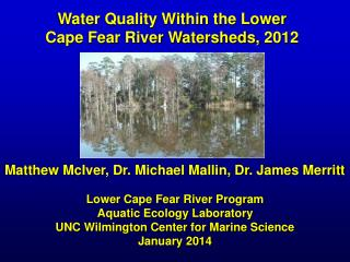 Water Quality Within the Lower  Cape Fear River Watersheds, 2012