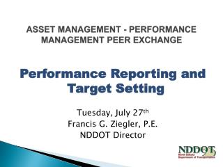 Asset Management - Performance Management Peer Exchange