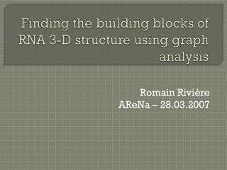 Finding  the building blocks of RNA 3-D structure  using  graph  analysis
