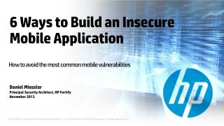 6 Ways to Build an Insecure Mobile Application