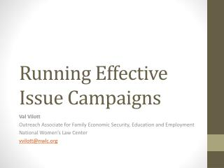 Running Effective Issue Campaigns
