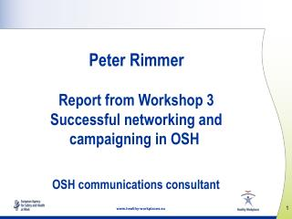 Peter Rimmer Report from Workshop 3 Successful networking and campaigning in OSH