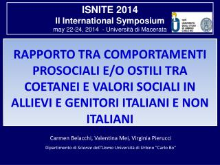 ISNITE 2014 II International Symposium may 22-24, 2014  - Università di Macerata