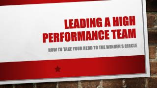Leading a High Performance  Team