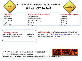 Road Work Scheduled for the week of July 16 – July 20, 2012