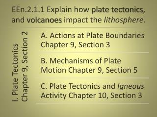 EEn.2.1.1 Explain how plate tectonics , and volcanoes impact the lithosphere .