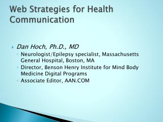 Web Strategies for Health Communication