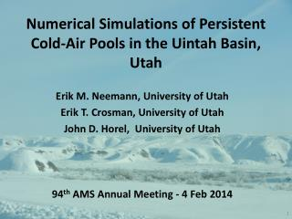 Numerical Simulations of Persistent Cold-Air Pools in the Uintah Basin, Utah